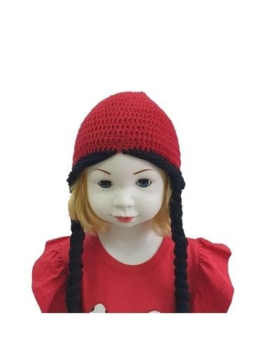 Quzucuk Kids Quzucuk Kids Örgülü El Yapımı Kız Çocuk Bere Kırmızı